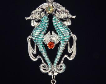Art Nouveau Jewelry Seahorse Pendant Ocean Jewelry Mermaid Jewelry Opal Pendant Fire Opal Pedant Sapphire Pendant Beach Jewelry