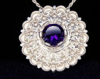 Art Nouveau Amethyst Pendant Sterling Silver Rosette Pendant Medallion Mandala Jewelry Baroque Jewelry Victorian Pendant Purple Necklace
