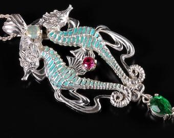 Art Nouveau Jewelry Seahorse Pendant Ocean Jewelry Mermaid Jewelry Opal Pendant Ruby Pedant Emerald Pendant Beach Jewelry Seahorse Necklace