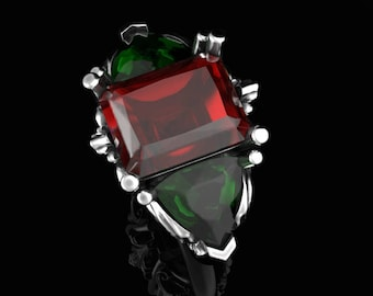 Ruby and Emerald Ring, Romantic Ring, Floral Ring, Ethical Gemstones, Ethically Made Ring, Floral Ring, Affordable Ruby Ring