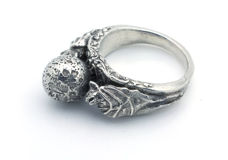 Bat and Moon Ring Silver Bat Ring Moon Jewelry Gothic Ring image 0