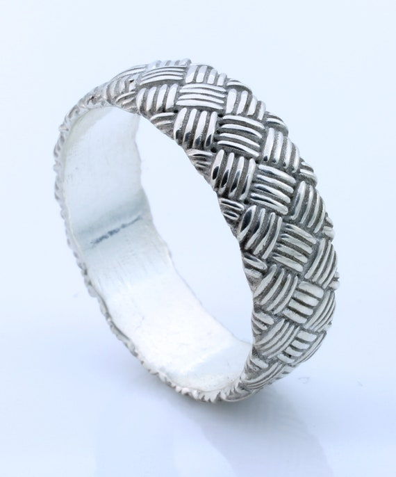 Mens Silver Braided Wedding Band Woven Band Gift For Him Etsy