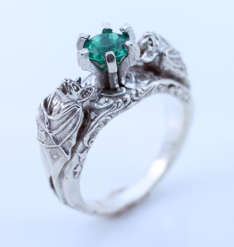 Emerald Bat Ring Bat Jewelry Silver Ring Gothic Jewelry Gothic image 0