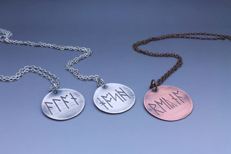 Personalized Viking Necklace Scandinavian Jewelry Custom image 0