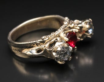 Raven Diamond Skull Ring Viking Raven Ring Gothic Ring Gold Skull Ring Norse Jewelry Witch Ring Celtic Crow Ring Spirit Animal Odin Heilung