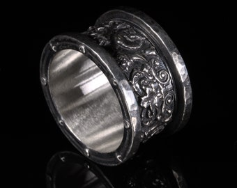 Scroll Filigree Rings for Men Unique Men's Jewelry Handmade Gift for Him Renaissance Medieval Silver Ring Wide Band Floral Ring Antique
