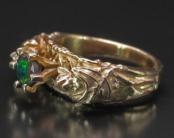 14 kt Gold Bat Ring Black Opal, Luxury Goth Wedding Ring, Gothic Engagement, Gothic Jewelry, Bat Ring, Bat Jewelry, Goth Wedding, Goth Ring
