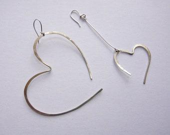 Asymmetrical hammered heart earrings