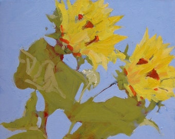"Original Sunflower Painting . ""Two More Sunflowers"" 20x16 in."