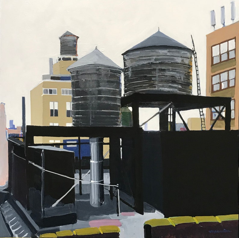 NYC Streetscape Painting . Water Towers 30x30 in. image 0