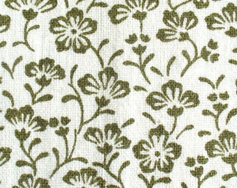 Green Floral Heavyweight Cotton Fabric