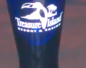 Cobalt Blue Shot Glass, Treasure Island Resort & Casino Logo