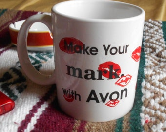 Vintage Avon Lipstick Coffee Mug Make your Mark with Avon What's on your Lips?