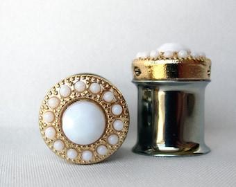 "LAST Pair of Gold and Ivory Feminine Plugs - Handmade Girly Gauges - 7/16"" (11mm)"