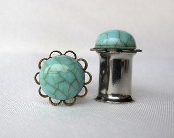 Pair of Turquoise Plugs on Antique Brass Filigrees - Handmade Girly Gauges 8g, 6g, 4g, 2g, 0g, 00g, earrings (3mm, 4mm, 5mm, 6mm, 8mm, 10mm)