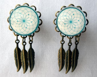"Pair of Antique Brass Dreamcatcher Plugs with Feather Charms - Bohemian Dangle- 10g, 8g, 6g, 4g, 2g, 0g, 00g, 7/16"", 1/2"", 9/16"", 5/8"", 3/4"""