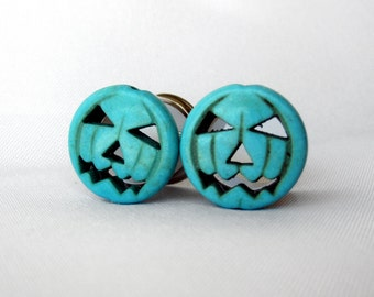 "Pair of Turquoise Jack-O-Lantern Plugs - Halloween Gauges - Pumpkin Tunnels - 0g, 00g, 7/16"", 1/2"", 9/16"" (8mm, 10mm, 11mm, 12mm, 14mm)"