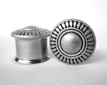 "Pair of Bohemian Antique Silver Sunburst Plugs - 2g, 0g, 00g, 7/16"", 1/2"", 9/16"", 5/8"", 3/4"" - Unique Boho Feminine Gauges"
