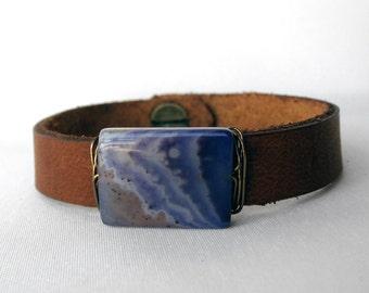 One of a Kind Polished Purple Agate and Leather Bracelet - Handmade Bohemian Jewelry - Boho Layering Jewelry - Small
