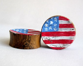 "Pair of American Flag Wood Plugs - 2g, 0g, 00g, 1/2"", 9/16"", 5/8"", 3/4"", 7/8"", 1"" (6mm, 8mm, 10mm, 12mm, 14mm, 16mm, 19mm, 22mm, 25mm)"