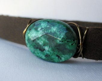 One of a Kind Polished Ziosite and Leather Bracelet - Brass - Handmade Bohemian Jewelry - Boho Layering Jewelry - Medium