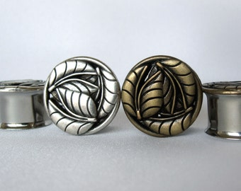 "Pair of Antique Brass or Silver Leaf Plugs - Handmade Girly Gauges - 9/16"", 5/8"", 3/4"", 7/8"" (14mm, 16mm, 19mm, 22mm)"