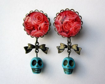 "Pair of Rose Plugs with Bow Charms and Turquoise Skull Beads - Girly Gauges - 8g, 6g, 4g, 2g, 0g, 00g, 7/16"", 1/2"", 9/16"", 5/8"", 3/4"""