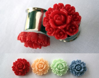 "Pair of Rose Bouquet Plugs - More Colors - Formal Girly Gauges - 2g, 0g, 00g, 7/16"", 1/2"", post earrings (6mm, 8mm, 10mm, 11mm, 12mm)"