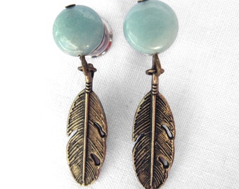 Pair of Natural Amazonite Plugs w/ Feather Dangle Charms - 8g, 6g, 4g, 2g, 0g, 00g (3mm, 4mm, 5mm, 6mm, 8mm, 10mm)