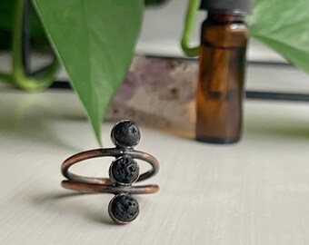 Copper and Lava Rock Oil Diffuser Ring - Bohemian Three Stone Stacking Ring - Healing Stone Jewelry - 6mm bezels