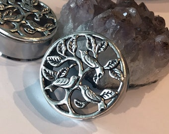 Pair of Silver Dove/Tree of Life Tunnels - Girly Plugs - Feminine Gauges - Handmade - 30mm 32mm Boho Bohemian