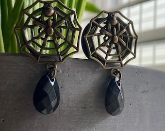 """Gothic Spiderweb and Skull Dangle Tunnels - 19mm (3/4"""") Gauges - Halloween Plugs - Witch Jewelry"""
