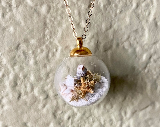 Featured listing image: 14k Gold Beach Bubble Necklace w/ Real Starfish, Sea Glass, Sand and Shells - Beaches of 30-A - Handmade Necklace- One of a Kind Gift