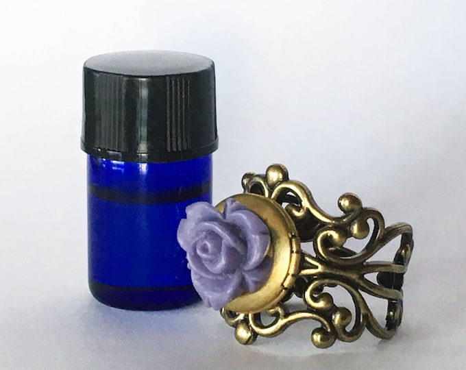 Featured listing image: Brass Filigree and Flower Aromatherapy Diffuser Ring - Essential Oil Jewelry - Healing Potion Carrier - Romantic Feminine Gift
