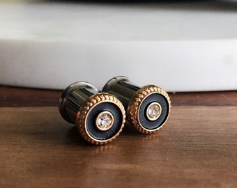 Pair of Black, Gold, & Rhinestone Plugs - Handmade Girly Gauges - Formal - 10g, 8g, 6g, 4g, 2g, 0g (2mm, 3mm, 4mm, 5mm, 6mm, 8mm)
