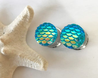 "Pair of Seafoam Mermaid Plugs - Feminine Beach Earrings - 8g, 6g, 4g, 2g, 0g, 00g, 7/16"" (3mm, 4mm, 5mm, 6mm, 8mm, 10mm, 11mm)"