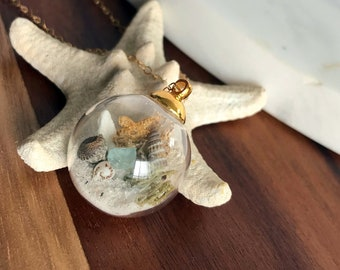 Gold Beach Bubble Necklace w/ Real Starfish, Sea Glass, Sand and Shells - Beaches of 30-A - Handmade Necklace- One of a Kind Gift