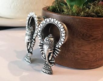 "Pair of Ganesha Elephant Tunnels - Feminine Plugs / Gauges - Handmade - 3/4"", 7/8"", 1"" (19mm, 22mm, 25mm) Boho Bohemian"