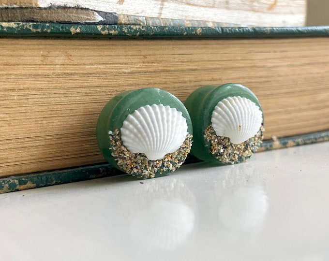 """Featured listing image: One of a Kind Pair of 16mm Jade Stone Plugs with Real Seashells and Beach Sand - Handmade 5/8"""" Gauges - OOAK Gift"""