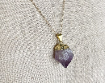 14k Gold Amethyst Electroplated Charm Necklace - Unique One of a Kind Layering Jewelry - Stone Healing - Crystal Bohemian Necklace