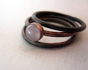 Rose Quartz Stacking Ring Trio - Sterling Silver or Copper - Stacking Pink Crystal - Healing Stone Jewelry - Boho Bohemian