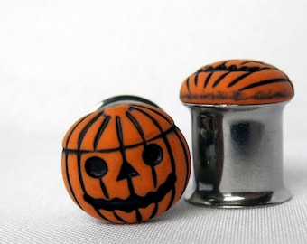 "Pair of Jack-O-Lantern Plugs - Halloween Gauges - Pumpkin - 4g, 2g, 0g, 00g, 7/16"", 1/2"" or Post Earrings (5mm, 6mm, 8mm, 10mm, 11mm, 12mm)"