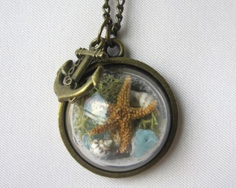 Antique Brass Beach in a Bubble Necklace w/ Real Starfish, Sea Glass, Sand and Shells - Beaches of 30-A - Handmade - Unique Gift