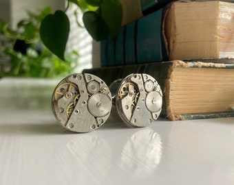 """Pair of One of a Kind Steampunk Plugs - 22mm (7/8"""") - Antique Watch Movement - Steam Punk Gauges - Handmade OOAK"""