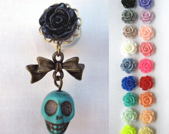 "Pair of Rose Plugs with Bow and Turquoise Skull Charms - Handmade Gauges - 4g, 2g, 0g, 00g, 7/16"", 1/2"" (5mm, 6mm, 8mm, 10mm, 11mm, 12mm)"