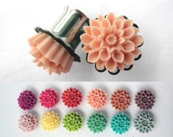 """Pair of Chrysanthemum Filigree Plugs - More Colors - Girly Gauges - 2g, 0g, 00g, 7/16"""", 1/2"""", post earrings (6mm, 8mm, 10mm, 11mm, 12mm)"""