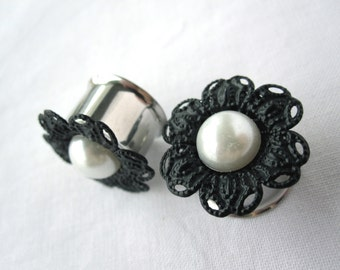 """LAST Pair of Unique Black Filigree Flower and Pearl Plugs - Bohemian Girly Gauges - 5/8"""" (16mm) or 3/4"""" (19mm)"""