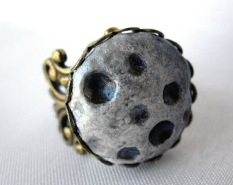 Hand-Molded Full Moon Filigree Ring - Adjustable - Handmade - Boho - Bohemian Statement Jewelry - Antique Brass or Silver