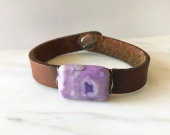 "One of a Kind Pink and Purple Jasper + Leather Bracelet - 7.5"" - Handmade Bohemian Jewelry - Boho Layering Jewelry - Natural Stone - Silver"