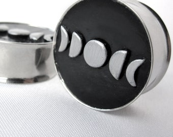 """Pair of Hand-Molded Moon Phase Plugs - Crescent 1/2"""", 9/16"""", 5/8"""", 3/4"""", 7/8"""", 1"""", 28mm, 30mm, 32mm (12mm, 14mm, 16mm, 19mm, 22mm, 25mm)"""